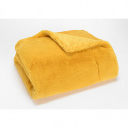 Plaid luxe Jaune Moutarde